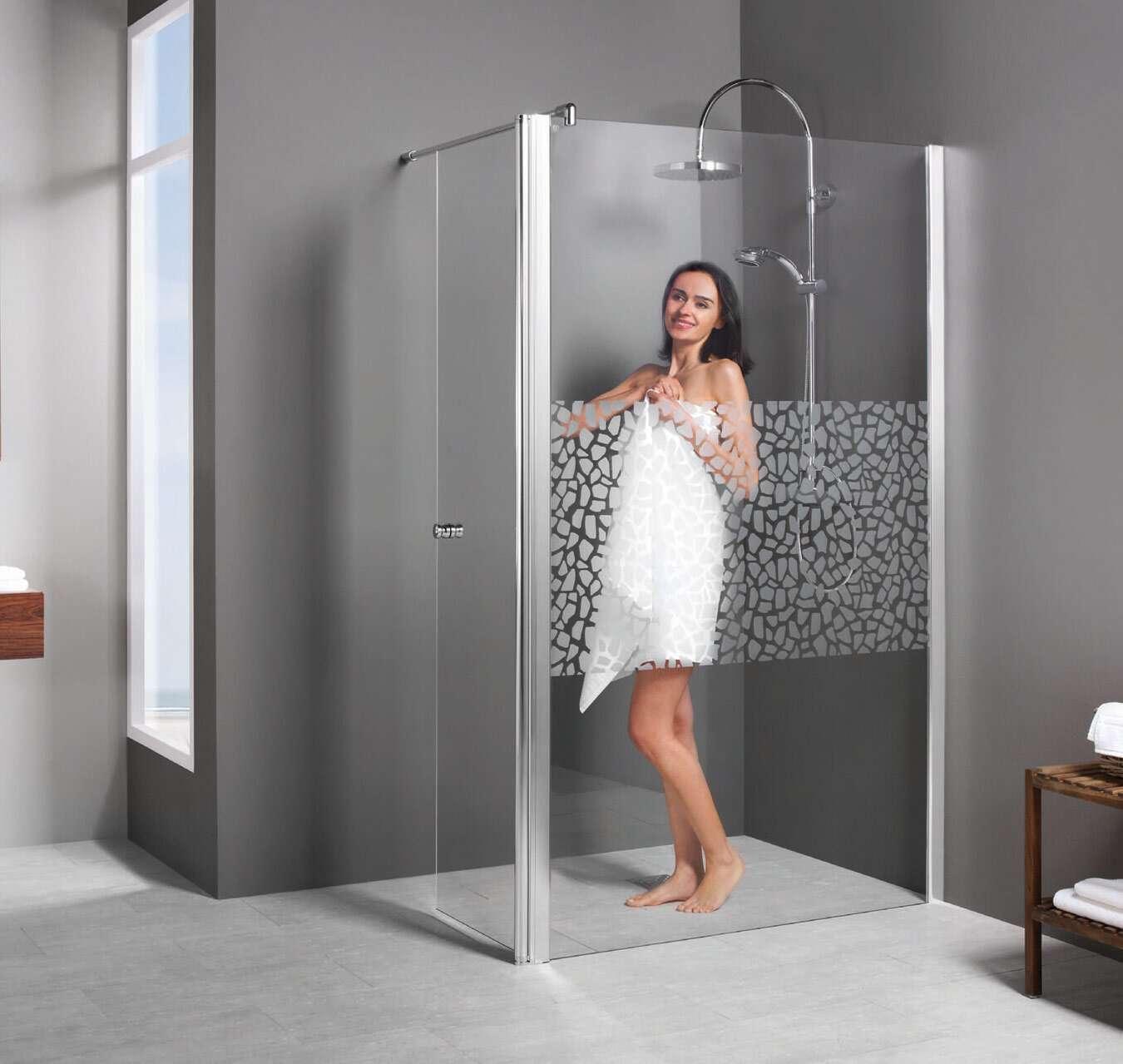 breuer duschwand entra walk in freistehend mit beweglichem element. Black Bedroom Furniture Sets. Home Design Ideas