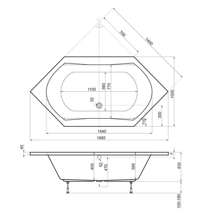 Ottofond ottofond sechseckbadewanne corsica 200 x 100 bild 3