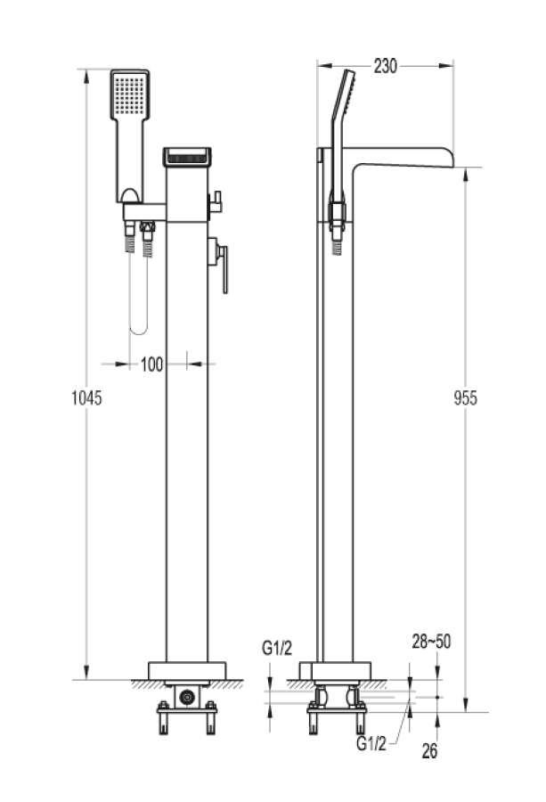 ottofond freistehende standarmatur niagara nia1000. Black Bedroom Furniture Sets. Home Design Ideas