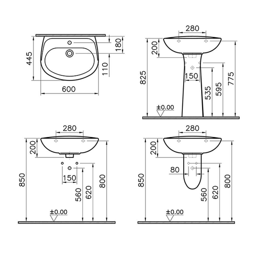 duschmeister waschbecken set 60 cm waschtisch set 1795317. Black Bedroom Furniture Sets. Home Design Ideas