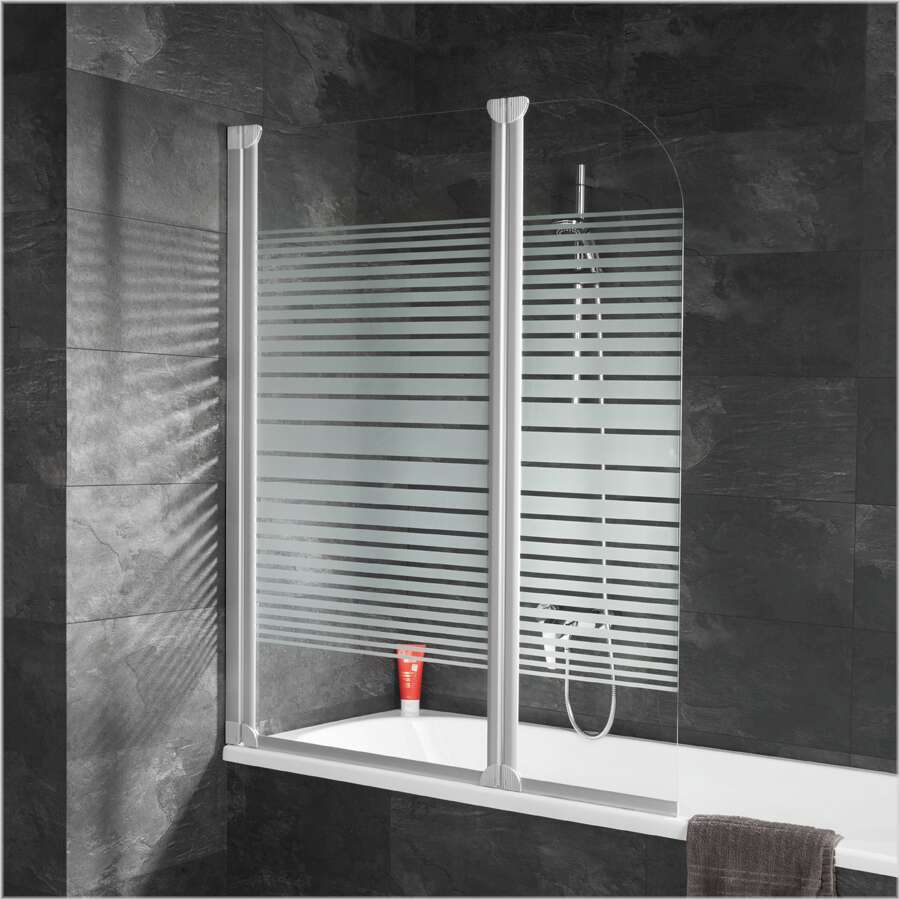 schulte alexa style badewannenaufsatz 2 teilig mit dekor querstreifen d1653. Black Bedroom Furniture Sets. Home Design Ideas