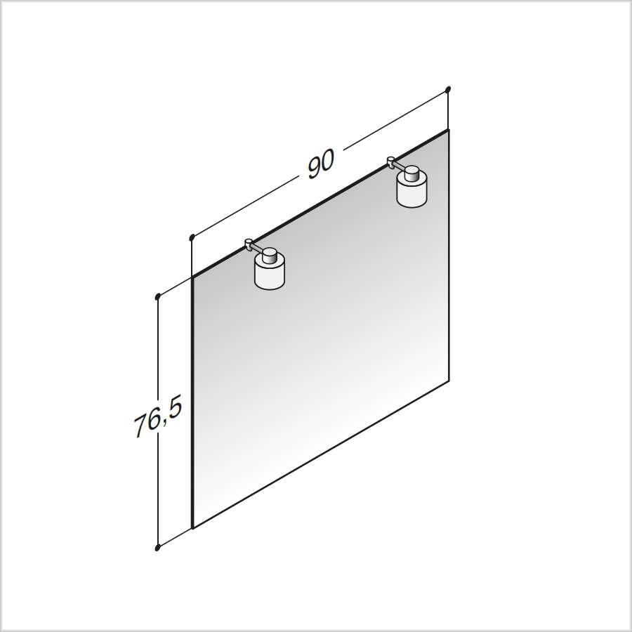 scanbad spiegel mit lampen aus eisglas und chrom 90 cm. Black Bedroom Furniture Sets. Home Design Ideas
