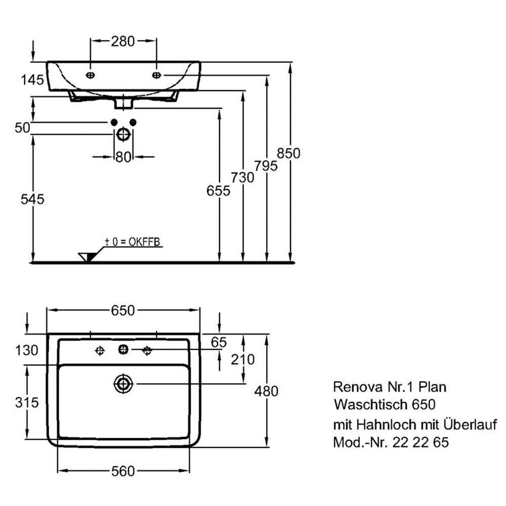 keramag renova nr 1 plan waschtisch 8067317. Black Bedroom Furniture Sets. Home Design Ideas