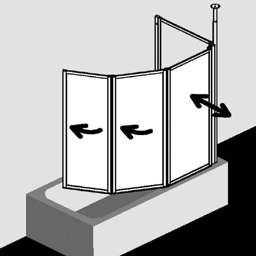 kermi vario 2000 badewannenfaltwand mit seitenteil kunstglas. Black Bedroom Furniture Sets. Home Design Ideas