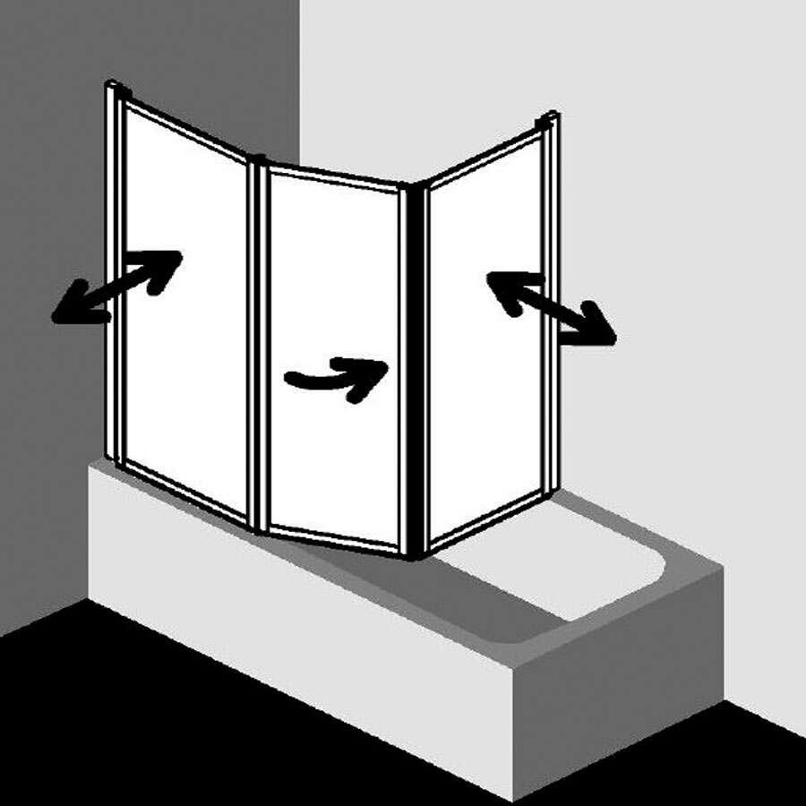 kermi vario 2000 badewannenfaltwand mit fl gel. Black Bedroom Furniture Sets. Home Design Ideas