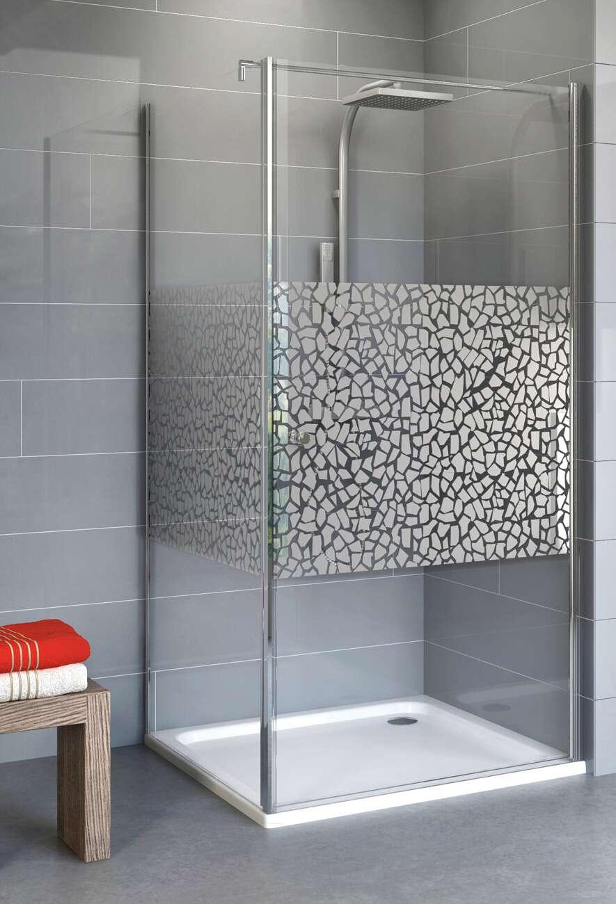 schulte alexa style 2 0 dreht r mit seitenwand dekor terrazzo chrom. Black Bedroom Furniture Sets. Home Design Ideas