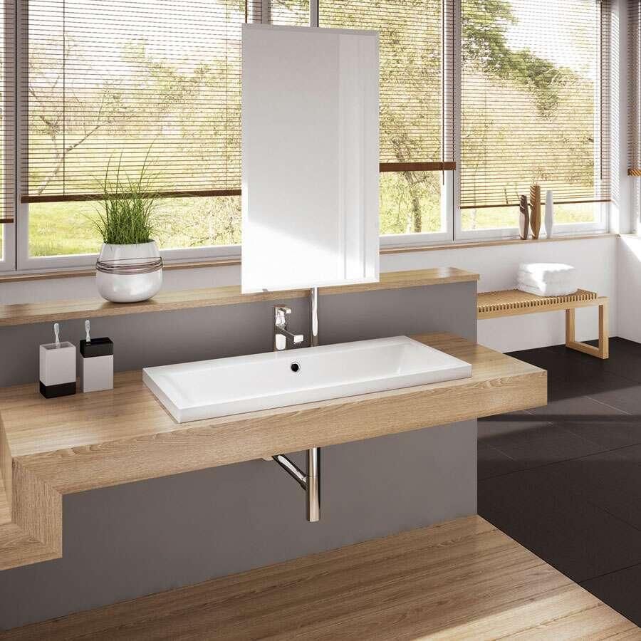kaldewei puro aufsatzwaschtisch 90 x 46 cm randh he 4 cm 1998609. Black Bedroom Furniture Sets. Home Design Ideas