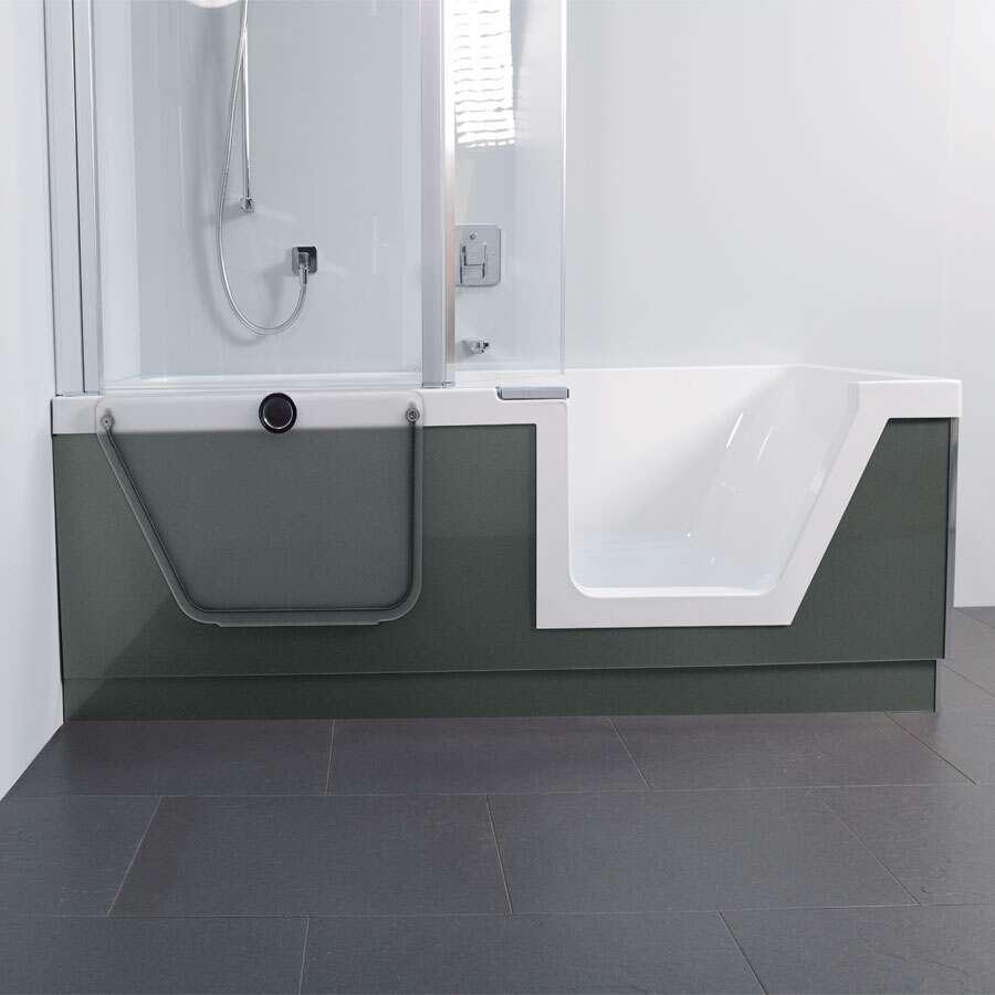 duscholux step in pure badewanne mit t reinsatz rechts 180x80 cm 608302100. Black Bedroom Furniture Sets. Home Design Ideas