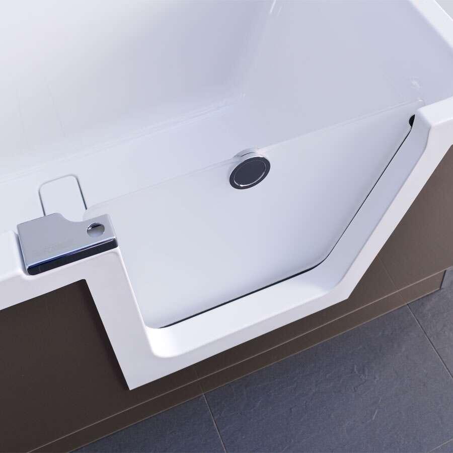 duscholux step in pure badewanne mit t reinsatz links 180x80 cm 608302200. Black Bedroom Furniture Sets. Home Design Ideas