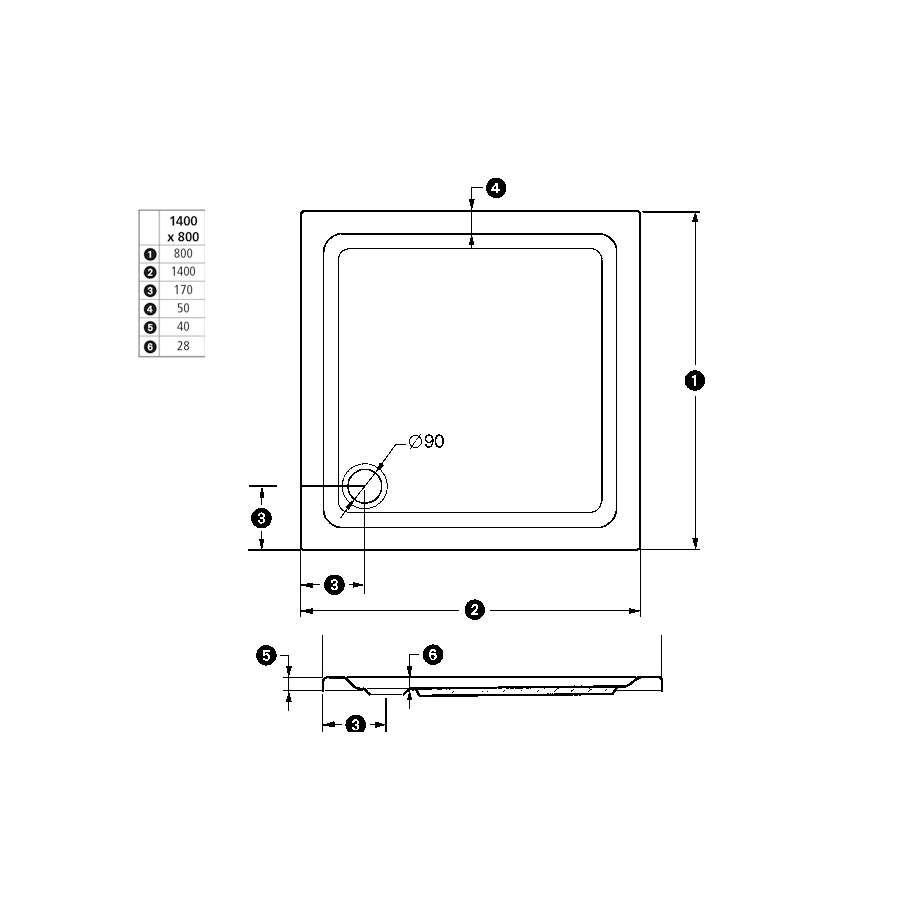 duschmeister duschwanne chicago 80 x 140 cm 872301. Black Bedroom Furniture Sets. Home Design Ideas