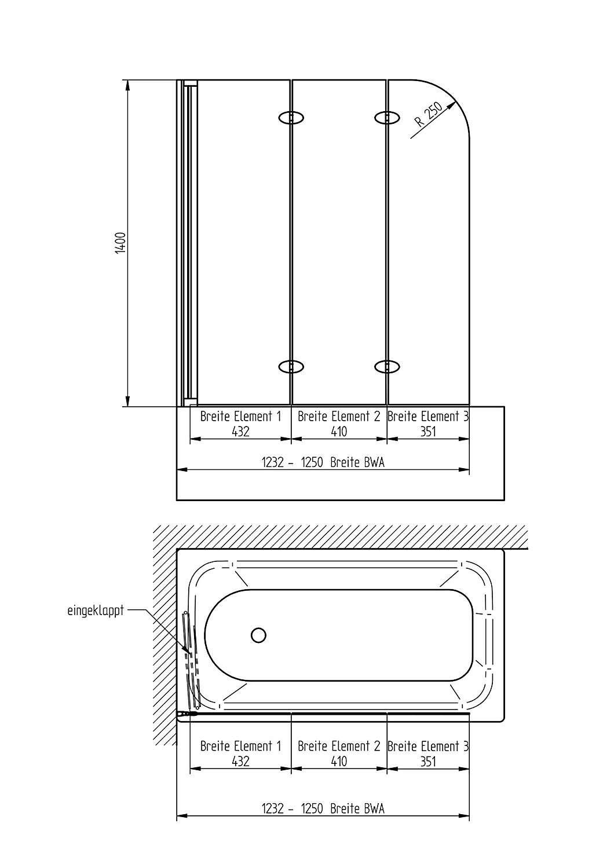 schulte hamburg badewannenfaltwand milchglas 3 teilig 140x125 cm d33540131. Black Bedroom Furniture Sets. Home Design Ideas