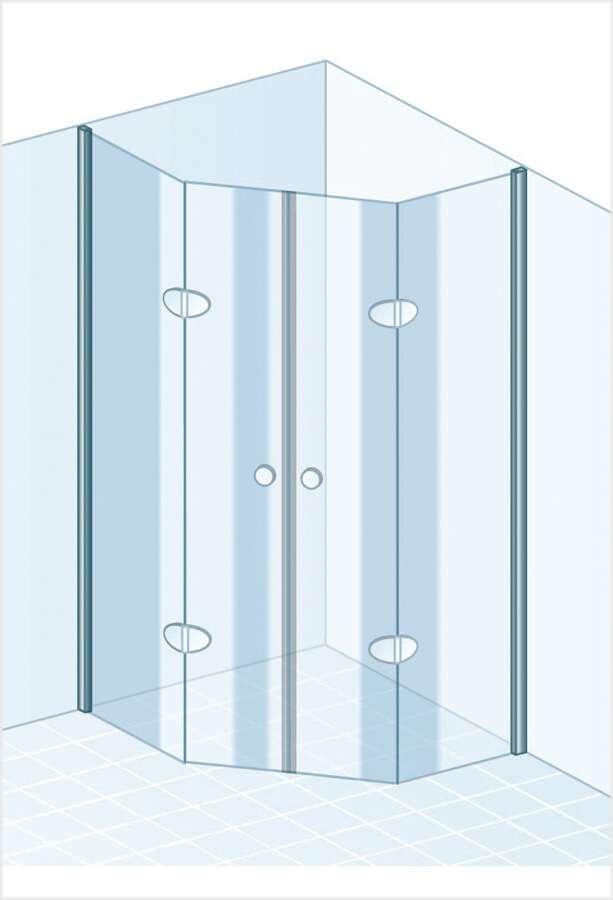 schulte garant f nfeckdusche mit drehfaltt r. Black Bedroom Furniture Sets. Home Design Ideas