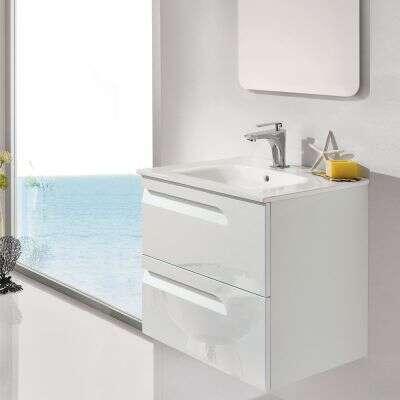 dansani dansani badmobel vitale mit waschtisch und spiegel 60 cm in weiss hochglanz