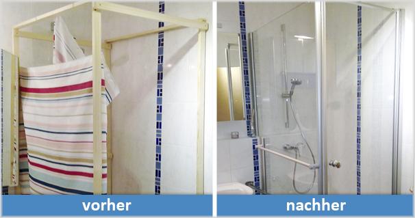 Der Monteur baut die alte Dusche ab und die neue Kabine ein.