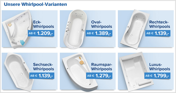 Das Whirlpoolangebot bei duschmeister.de