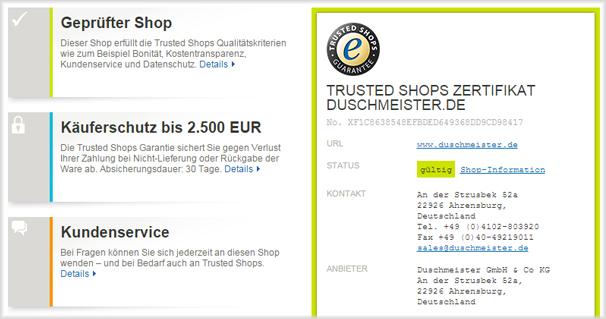 Trusted Shops Zertifikat für Duschmeister.de mit Käuferschutzgarantien