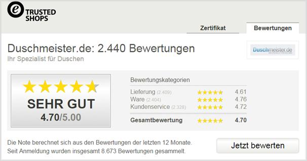 Trusted Shops Kundenbewertungen für Duschmeister.de: Sehr gut