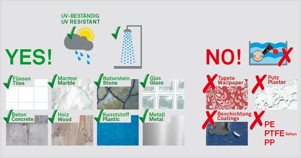 nie wieder bohren. – Produkte halten auf nahezu sämtlichen glatten und sauberen Oberflächen. Beim Auszug können die Befestigungen dann rückstandslos entfernt werden.
