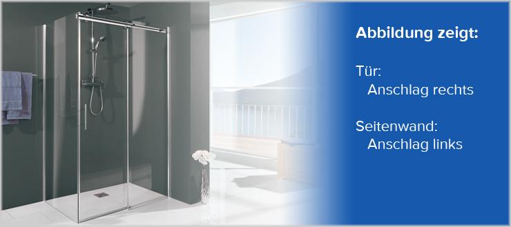 Hier sehen Sie deutlich: Der Griff der Duschtür bzw. die Türöffnung befindet sich links, der Türanschlag ist somit rechts.