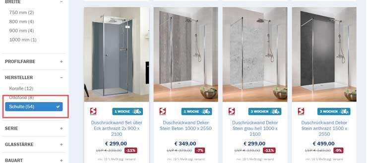 Häufig Preiswerte Duschrückwände von Schulte auf Duschmeister.de AM16