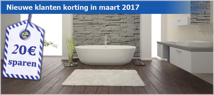 Nieuwe klanten krijgen in maart een korting van € 20,00 met de eerste online bestelling bij Douchemeister.nl.