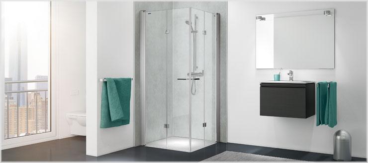 Verzichten Sie auf schwer zu reinigende Fliesenfugen und setzen Sie stattdessen auf die PanElle Duschrückwände von Duscholux.