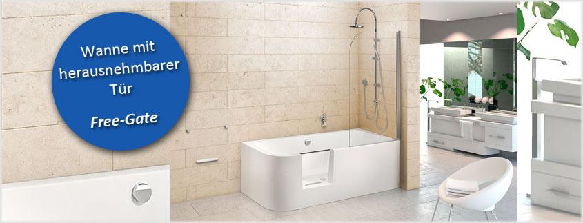 """Sie haben ausschließlich Platz für Dusche ODER Badewanne? Mit dem neuen Modell """"Free Gate"""" bekommen Sie beides! Und das mit einer herausnehmbaren Tür zum einfachen Einstieg."""