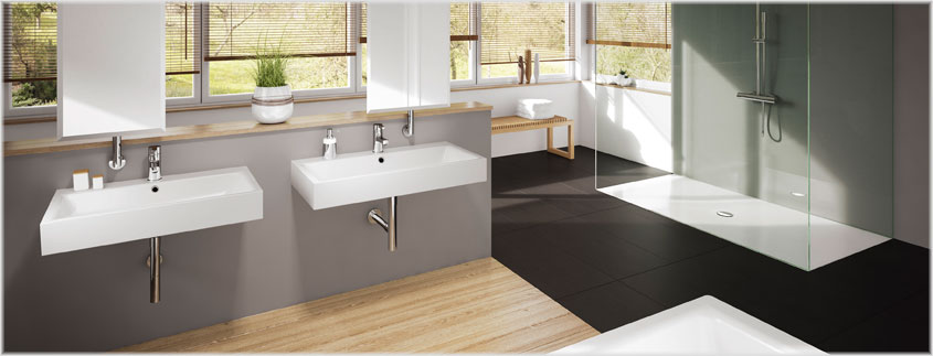Egal ob Duschwanne, Waschtisch oder Badewanne - die Produkte von Kaldewei sind aus robustem Stahlemaile gefertigt.