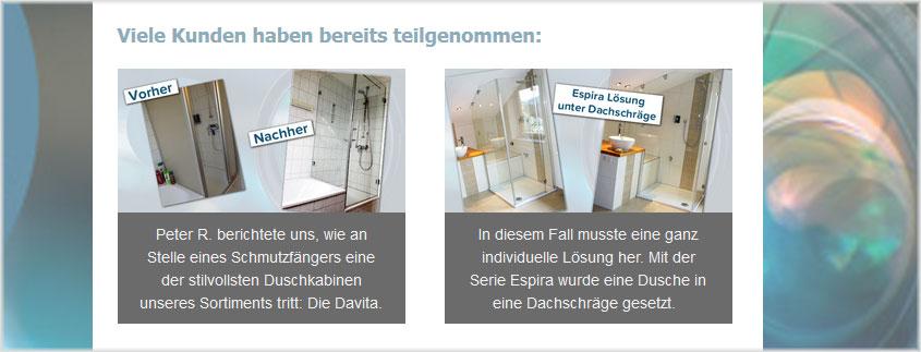Machen Sie es, wie zahlreiche andere Kunden und zeigen Sie allen, wie schön Ihr Badezimmer nach den Umbauarbeiten aussieht.
