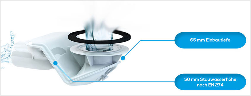 Bei diesem innovativen Duschablauf von Freilauf verhindert ein magnetischer Schnappmechanismus, dass sich Haare büschelweise im Abfluss festsetzen können.