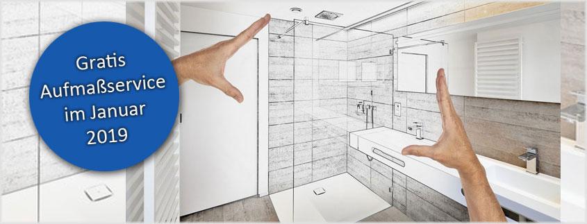 """Nutzen Sie unseren kostenfreien Aufmaßservice für Duschkabinen von Schulte und Breuer (gilt nicht für die Serien """"Fara"""" und """"Sunny"""")."""