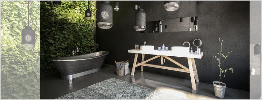 Ein wichtiges Stilelement des Industrial Designs ist die Betonoptik für Wände oder den Bodenbelag.