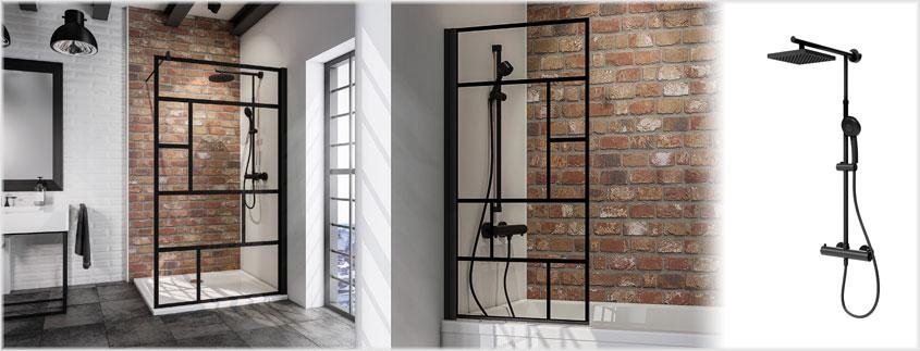 """Innerhalb der """"Black Style"""" Serie von Schulte finden Sie Duschsysteme und Duschabtrennungen im Industrial Design."""