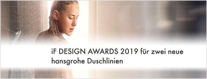 """Unser Partner und Markenhersteller """"hansgrohe"""" erhält den iF Design Award 2019."""