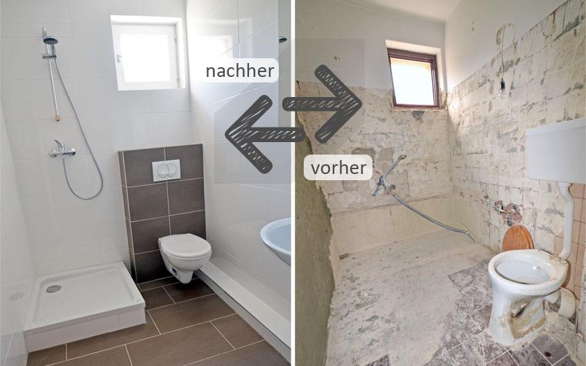 Kleines Bad, geringere Kosten. Jedoch größerer Planungsaufwand.