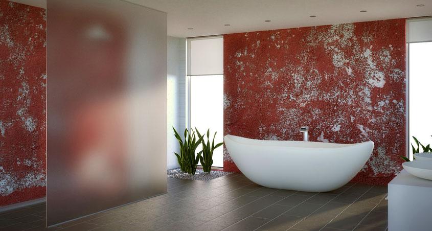 Auch Putz hat den Weg ins Badezimmer gefunden. Im Hinblick auf die Farben sind der Fantasie keine Grenzen gesetzt.