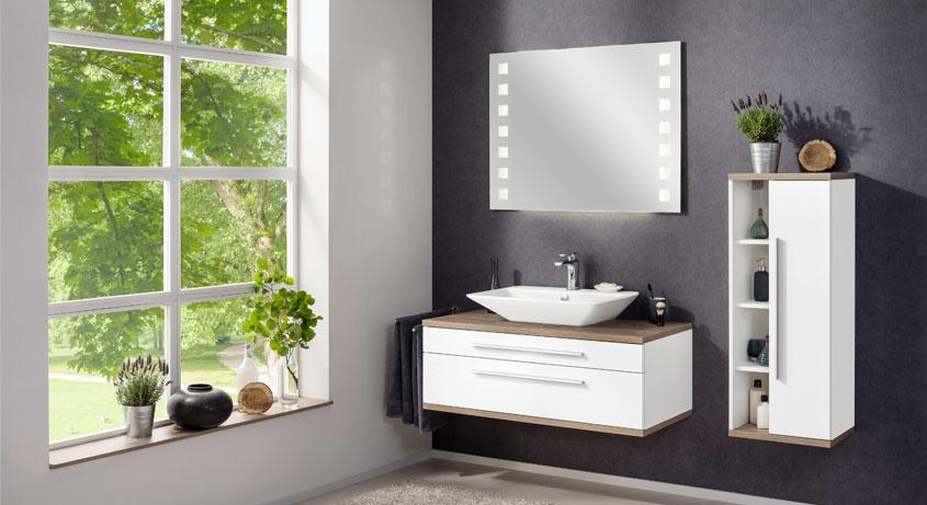 Sie wollen mehr Stauraum für Ihr Badezimmer? Den können Sie haben! Ganz schnell sogar! Binnen einer Woche sind die Fackelmann Stanford Badmöbel 110 cm mit Aufsatzbecken bei Ihnen zu Hause.