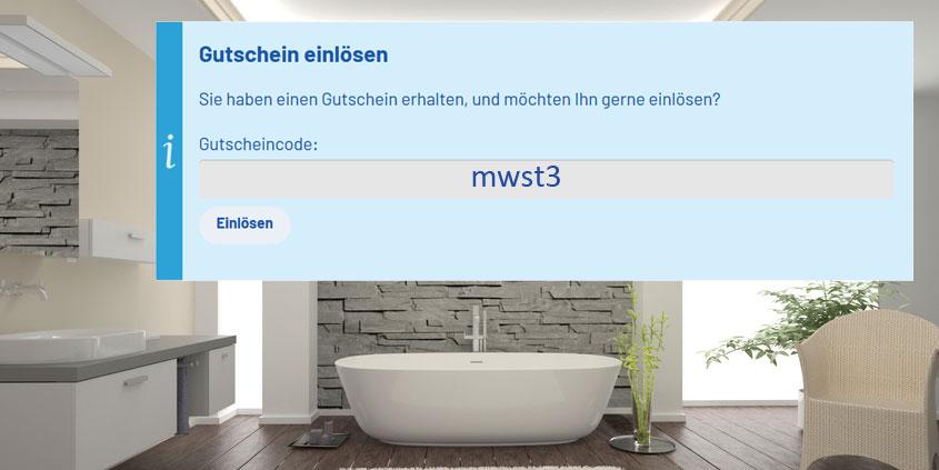 """Buchen Sie schlicht den Gutscheincode """"mwst3"""" während des Bestellprozesses ein."""