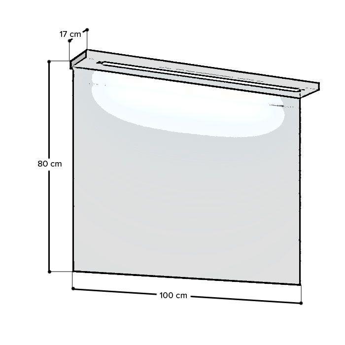 duschmeister skagen spiegel mit led lichtleiste 100 cm spiegel. Black Bedroom Furniture Sets. Home Design Ideas