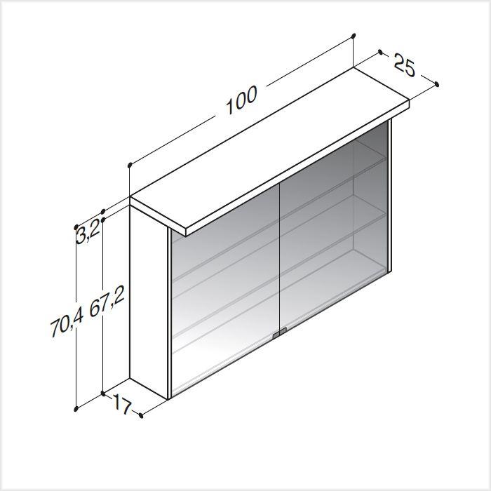 Scanbad spiegelschrank fox mit led beleuchtung 100 cm for Spiegelschrank 100 cm led