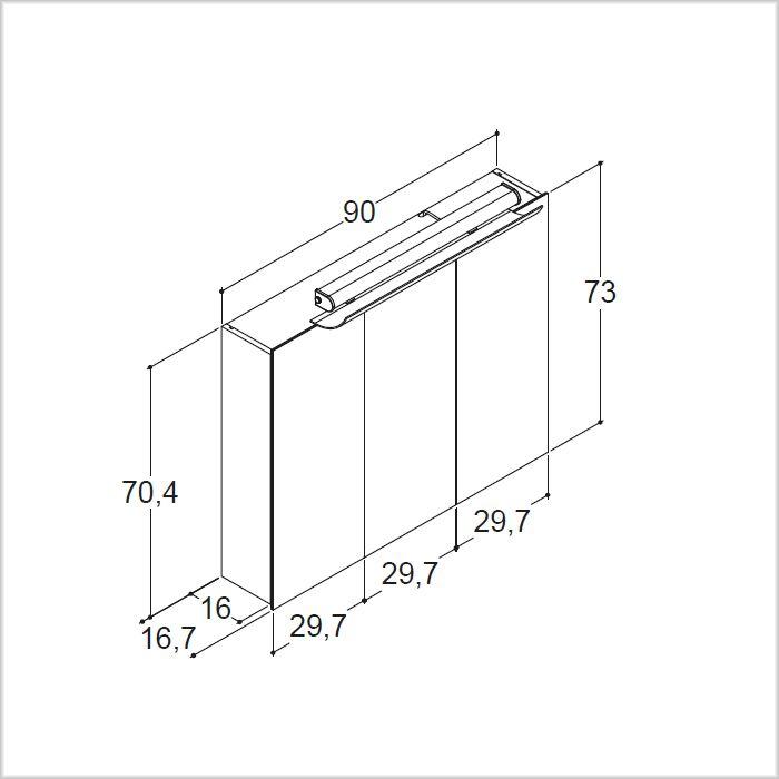 scanbad spiegelschrank rumba m leuchte u sensorschalter 90 cm spiegelschrank. Black Bedroom Furniture Sets. Home Design Ideas