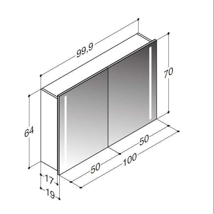 Spiegelschrank Delta LEDLeuchten seitlich 100 cm Spiegelschrank